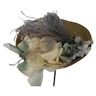 Straw Hat Artist Made With Vintage Feather and  Flowers