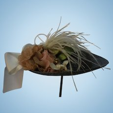Beautiful Doll Hat Made with Light Blue/Grey Straw