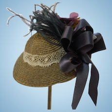 Adorable Doll Straw Hat with Vintage Trims