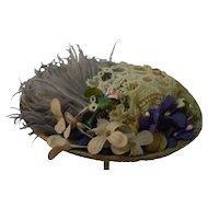 Beige Straw Hat Artist Made with Vintage Trims