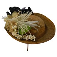 Adorable Straw Hat with Upturned Brim Artist Made