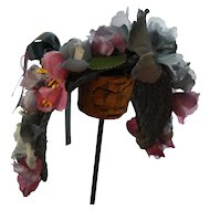 Charming Dusty Navy Straw Hat with Vintage Flowers Artist Made