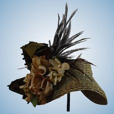 French Fashion Straw Hat with Vintage Flowers Artist Made