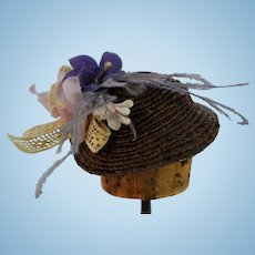 Adorable Tiny Dark Brown Straw Hat
