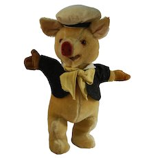Musical Mohair Pig with Hat and Jacket
