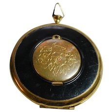 Art Deco Style Compact with Mirror and Secret Photo Compartment