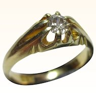 Victorian{London 1890} 18ct Solid Gold Diamond Solitaire Gemstone Ring{0.22Ct Weight}