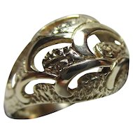 Ornate Vintage{London 1973} 9ct Solid Gold 'Dome Shaped' Ring