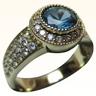 Pretty Vintage 9ct Solid Gold Blue Topaz + Cubic Zirconia Gemstone Ring{4.5 Grams}