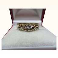 Pretty Vintage 9ct Solid Gold 13-Stone Diamond Gemstone 'Knot' Ring