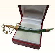 Exquisite Antique 9ct Gold 'Jadeite' Gemstone Sword Brooch