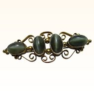 Ornate Antique 9ct Gold Dark Green Chrysoberyl Cat's Eye Gemstone Bar Brooch
