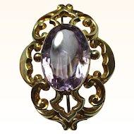 Decorative 'Art Nouveau' 9ct Gold Oval Shaped Amethyst Gemstone Bar Brooch{9.3 Grams}