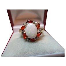 Pretty Vintage 9ct Solid Gold Diamond, Opal + Hessonite Garnet Gemstone Cluster Ring{3.3 Grams}