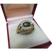Georgian{Circa 1825} 18ct Solid Gold Turquoise + Split Seed-Pearl Gemstone 'Memorial' Ring{4.3 Grams}