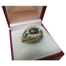 Georgian{Circa 1825} 18ct Solid Gold Turquoise + Split Seed-Pearl Gemstone 'Memorial' Ring{4.3 Grams}