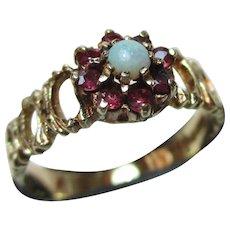 Pretty Vintage{Birmingham 1975} 9ct Solid Gold Ruby + Opal Gemstone Cluster Ring
