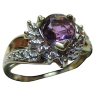 Vintage 9ct Solid Gold Diamond + Amethyst Gemstone 'Crossover' Ring