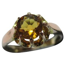 Pretty 9ct Solid Gold Citrine Solitaire Gemstone Ring