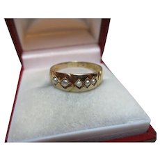 Pretty Victorian{Birmingham 1882} 15ct Solid Gold 5-Stone Split Seed-Pearl Gemstone Ring