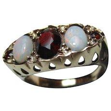 Attractive Vintage{London 1977} 9ct Solid Gold 5-Stone Opal + Garnet Gemstone Ring{4.1 Grams}