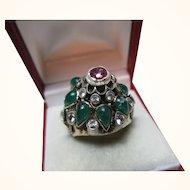 Exquisite Antique 14ct Solid Gold Multi Gemstone 'Pagoda' Ring{9.9 Grams}