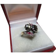 Attractive 14ct Solid Gold Ruby + Tiger's Eye Gemstone Crossover Ring