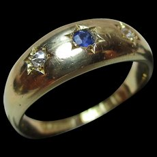Lovely Victorian{Birmingham 1899} 18ct Solid Gold 3-Stone Diamond + Sapphire Gemstone Ring{6.1 Grams}