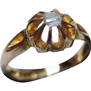 Decorative Antique 18ct Solid Gold Diamond Solitaire Gemstone Ring{0.1Ct Diamond Weight}