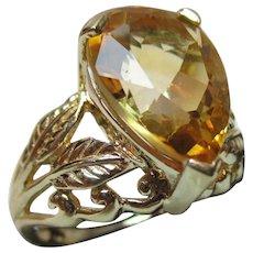 Vibrant Vintage 9ct Solid Gold 'Tear Drop Shaped' Citrine Gemstone Ring{5.8 Grams}