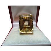 Decorative Antique 18ct Solid Gold 'Block Shaped' Citrine Gemstone Ring{8.3 Grams}