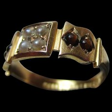 Exquisite Victorian{Chester 1883} 15ct Solid Gold Tiger's Eye + Split Seed-Pearl Gemstone Ring