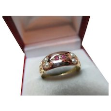 Decorative Victorian{Chester 1891} 15ct Solid Gold 6-Stone Ruby + Split Seed-Pearl Gemstone Ring
