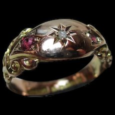 Ornate Edwardian{Chester 1907} 9ct Solid Gold Diamond + Ruby Gemstone Ring