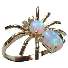 Pretty Vintage 9ct Solid Gold Opal + Cubic Zirconia Gemstone 'Spider' Ring