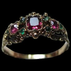 Quality Georgian 15ct Gold 9-Stone Emerald + Ruby Gemstone Ring