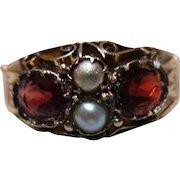 Quality Victorian{Birmingham 1891} 9ct Rose Gold Garnet + Split Seed-Pearl Gemstone Ring