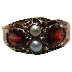 Quality Victorian{Birmingham 1891} 9ct Rose Gold Garnet + Split Seed-Pearl Gemstone Ring
