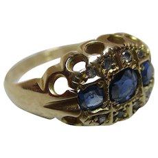 Antique 18ct Solid Gold Diamond + Sapphire Gemstone Ring