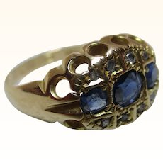 Antique 18ct Solid Gold Diamond + Sapphire Gemstone Ring