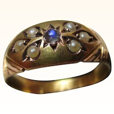 Decorative Victorian{Chester 1900} 15ct Gold 7-Stone Moonstone + Split Seed-Pearl Gemstone Ring