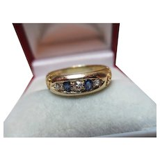 Pretty Victorian{Birmingham 1897} 18ct Solid Gold 5-Stone Diamond + Sapphire Gemstone Ring{3.3 Grams}