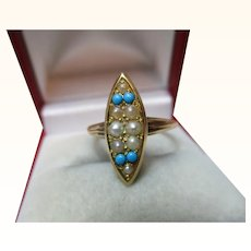 Decorative Antique 15ct Solid Gold 'Marquise Shaped' Turquoise + Split Seed-Pearl Gemstone Ring{3.3 Grams}