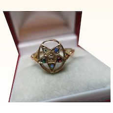 Ornate Antique 9ct Solid Gold 'Masonic'{Order Of The Eastern Star} 5-Stone Gemstone Ring