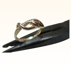 Pretty Vintage 9ct Solid Gold Ruby Gemstone 'Snake' Ring