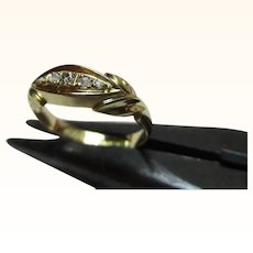 Pretty Antique{Birmingham 1915} 18ct Solid Gold 5-Stone Diamond Gemstone Twist Ring