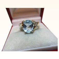 Attractive Vintage{Birmingham 2000} 9ct Solid Gold Diamond + Blue Topaz Gemstone Ring