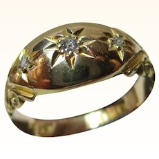 Attractive Antique{Chester 1905?} 18ct Solid Gold 3-Stone Diamond Gemstone Ring