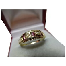 Ornate Edwardian{Birmingham 1903} 18ct Solid Gold 7-Stone Ruby + Split Seed-Pearl Gemstone Ring