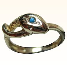 Pretty Vintage 9ct Solid Gold Turquoise Gemstone 'Snake' Ring